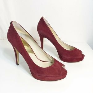 MICHAEL KORS Womens 11 Heels Wine Red Peep Toe